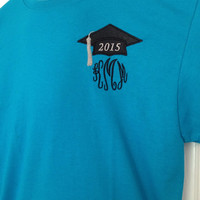 Great graduation gift 2015 senior shirt w Cap Hat personalized monogram monogrammed embroidered appliqué T-shirt Shirt high school college