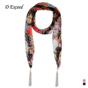 Vintage Style Jersey Scarves for Women Mixed Big Flower Pattern Chiffon Scarf Long Scarf D Exceed SC150279