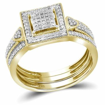 10kt Yellow Gold Womens Diamond Square 3-Piece Bridal Wedding Engagement Ring Band Set 1-3 Cttw