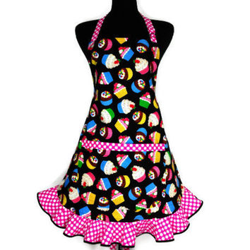 Cupcake Apron , Multicolor on Black wtih Hot Pink Retro Style Hostess Ruffle