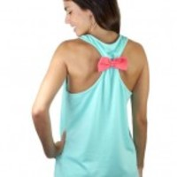Mint Racerback Anchor Tank Top
