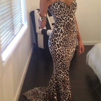 Leopard Strapless Deep V Bodycon Fishtail Maxi Dress