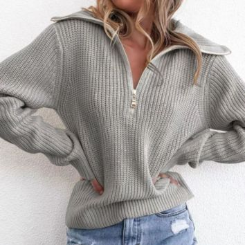 Solid color casual loose zipper turtleneck sweater sweater