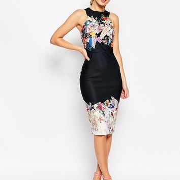 ASOS Dark Based Floral Print Midi Pencil Dress