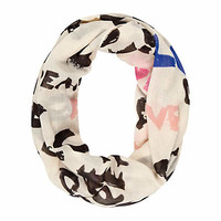 Girls white graffiti love print snood  - scarves / snoods - accessories - girls