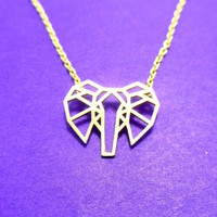 African Elephant Face Outline Shaped Pendant Necklace in Gold   DOTOLY