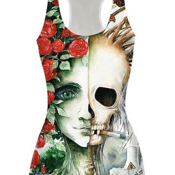 Split Face Racer Back Tank Top