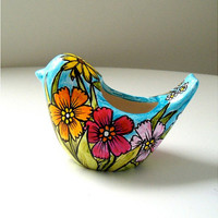 Ceramic Bird Planter Flower Garden Botanicals Turquoise Red Roses Yellow Brown Eyed Susans Daisies