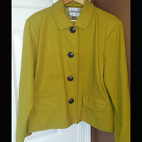 Chico's Women's Solid Yellow Jacket Size Sz 2  U.S Size 12/14 FREE SHIPPING!!
