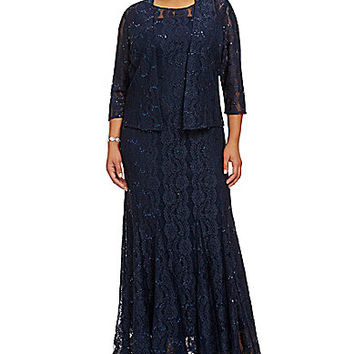 Alex Evenings Plus Lace Jacket Gown - Navy
