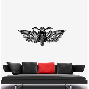 Wall Decal Motorcycle Wings Bike Flight Vinyl Sticker (ed1294)