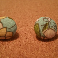 Flower Patterned Fabric Studs