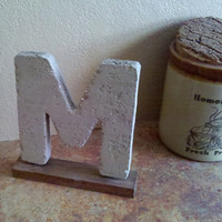 """Rustic Med 7"""" Cement Letter M with Stained Barnwood Base"""