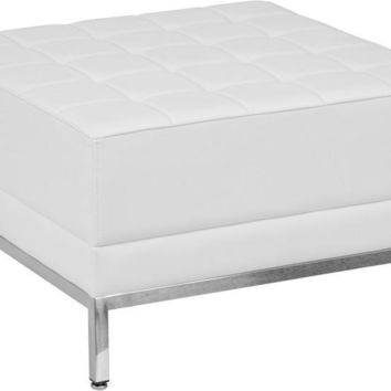 Imagination Series White Leather Ottoman