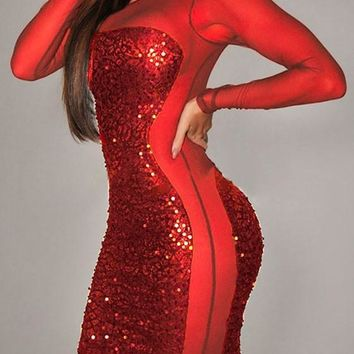 Streetstyle  Casual Red Patchwork Sparkly Sequin See-through Clubwear Bodycon NYE Party Mini Dress