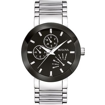 Bulova Men's Essential Day/Date Watch - Stainless Steel - Black Dial & Bezel