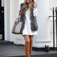 Peacock Faux Fur Vest | SPREDFASHION