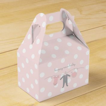 Welcome Baby P&G- Happy New Baby Gable Box Pink Favor Boxes