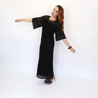 Vintage 1960s 1970s Black Crochet Lace Maxi Dress Bell Sleeves Boho Summer Sundress Indie Cotton Folk Hippie Mexican Peasant Gown Gypsy