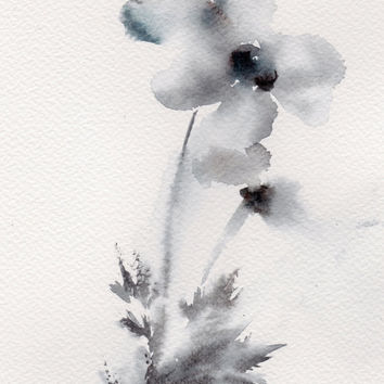 Abstract Flowers Painting, Original Watercolor Painting, Grey Blue, Abstract, Modern Painting, Floral Art