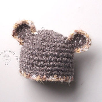 Baby bear Crochet Newborn Hat, Baby bear owl, mouse gray, Baby Props, Boy Hat, Infant Hat Baby, Newborn Boy Hat, Crochet Hat Newborn, RTS