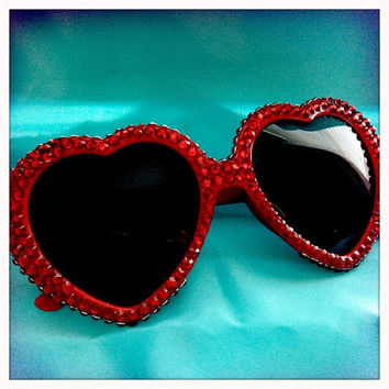 Rhinestone Heart Sunglasses by MysteresMasquerade on Etsy