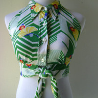 60s Floral Crop Top Vintage Green White Stripes Button Down Up Front Ties At Bottom Size S Small 1960s Hippie Bohemian Festival Open Back