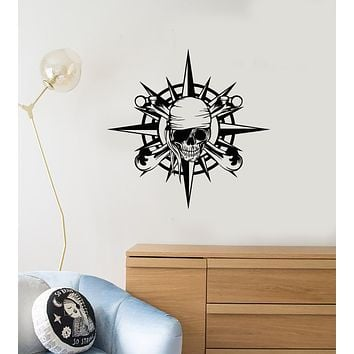 Vinyl Wall Decal Pirate Compass Skull Bones Nautical Kids Room Art Interior Stickers Mural (ig5959)
