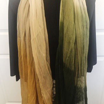 Vintage Scarf, Vintage Accessory, Gold, Green, Pastel Yellow, Long Scarf, Versatile, DIY Craft Project