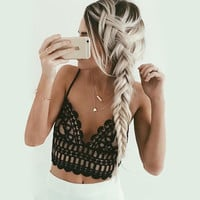 Lace Camisole Bandage Backless Tops