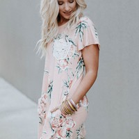 Lace Pocket Floral Dress - Blush