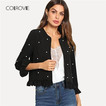 Trendy COLROVIE Black Office Lady Pearl Beaded Frill Hem Jacket Outer 2018 Autumn Ruffle Petal Sleeve Solid Elegant Fashion Women Coat AT_94_13