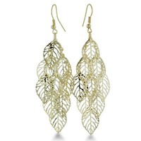 GOLD TONE MULTI DROP EAR Dangling Gold Tone Skeleton Leaf Earrings