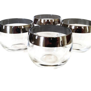 Mid-Century Roly Poly Glasses, Dorothy Thorpe, Silver Banded, 1960s