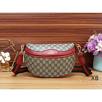 GUCCI Women Leather Stripe Waist Bag Single-Shoulder Bag Crossbody