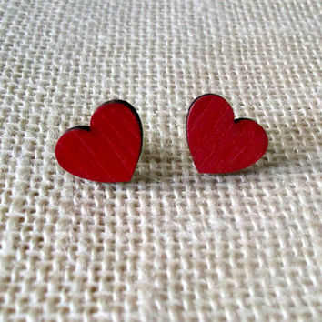 Red Heart Stud Earrings, Wooden Stud Earrings Cute Modern Jewelry