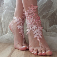 Pink white bridal anklet, beach shoes, bridal sandals, barefoot sandles, pink sandals, wedding shoes, summer wear, belly dance