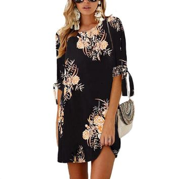Women Dress 2019 Summer Sexy Floral Print Chiffon Dress Boho Style Short Party Beach Dresses Tunic Vestidos de fiesta Plus Size