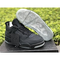 "KAWS x Air Jordan 4 ""Cool Black"" ""Cool Grey"" Unisex Leather Basketball Sneaker"