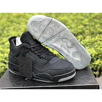 KAWS x Air Jordan 4 Black Unisex Leather Basketball Sneaker