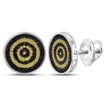 Sterling Silver Mens Round Yellow Black Color Enhanced Diamond Circle Stud Earrings 1-2 Cttw