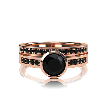 Black diamond engagement ring set, rose gold ring, diamond wedding, bezel, half eternity ring, gothic engagement, black  solitaire ring