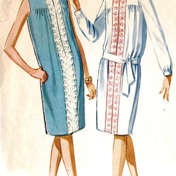 1960s Misses Loose Fitting Dress Vintage Sewing Pattern, McCall's 6671 bust 34""