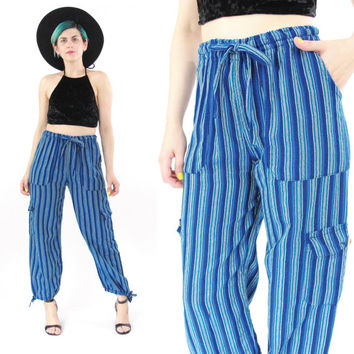 80s 90s Harem Pants Slouchy High Waist Pants Elastic Waist Pants Baja Blue Striped Trousers Loose Fit Hippie Boho Ethnic Yoga Pants (S)