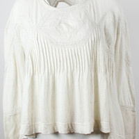 FREE PEOPLE LACE-TRIM BABYDOLL TOP IVORY XS