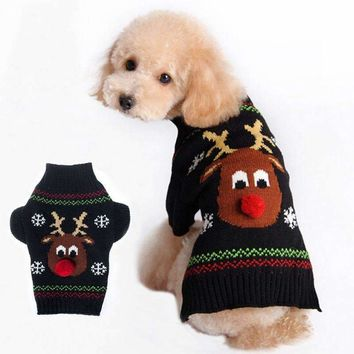 Small dog knit Sweater clothing small dog Coat jacket dachshunds chihuahua christmas reindeer costume dog clothes Pet Supplies