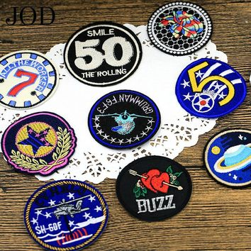 Trendy JOD Fashion Badge Cloth Stickers Embroidered Round Patch Down Jacket Denim Shirt Sticker Fill Hole Thermo Application on Clothes AT_94_13