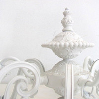 Antique White Chandelier Shabby Chic Cottage Chic Lighting Ornate