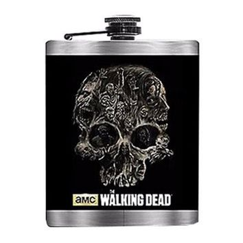 8oz OFFICIAL AMC The Walking Dead Black Skull Flask with Silver Colored Body