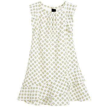Zadig & Voltaire Girls White Dress with Yellow Stars